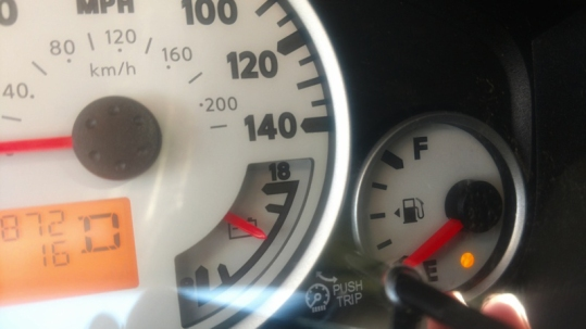 An orange light comes on to let drivers know that they are almost out of fuel.